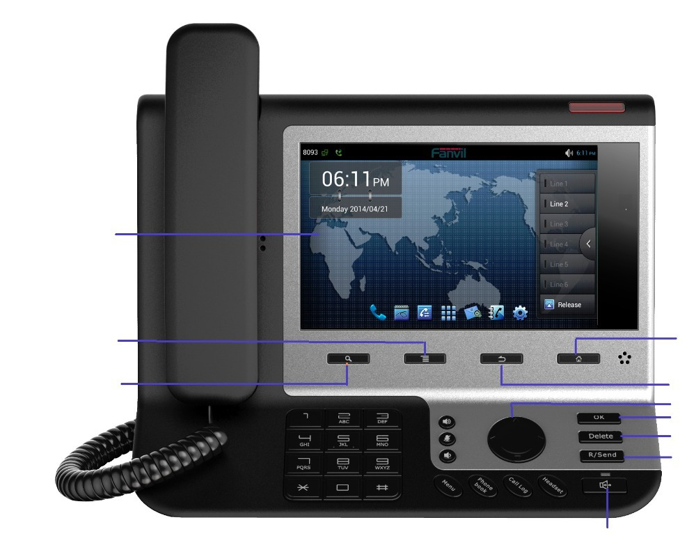 2015 New Promotion Landline Phone 7'' Tft Touch Screen Android Voip Phone Video Conference Support 6 Sip Account For Business(China (Mainland))