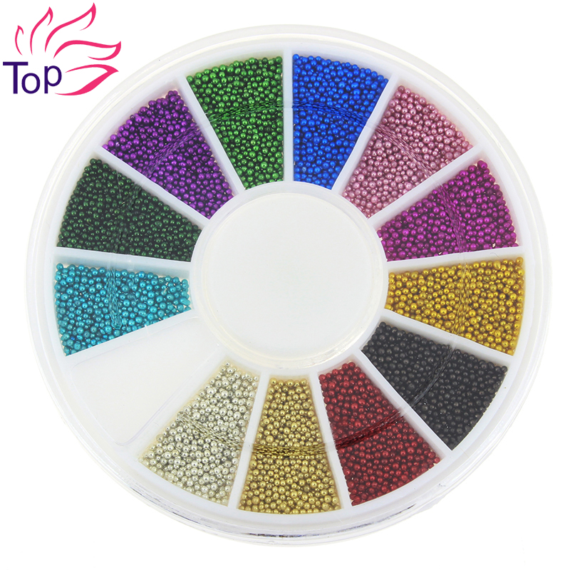 Top Nail 12 Color Steels Beads Studs For Nails Metal Caviar Design Wheel Charms 3D Decorations Nail Art Supplies ZP206(China (Mainland))