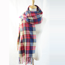 Cheap Soft Blanket Pashmina Large Women Winter Tartan Scarf Wrap Cape Ladies Fashion Brand Plaid Long Large Soft Shawl Cashmere