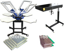 FAST FREE shipping Discount 4 color silk screen printing kit t-shirt printer press equipment carousel stretched frame squeegee