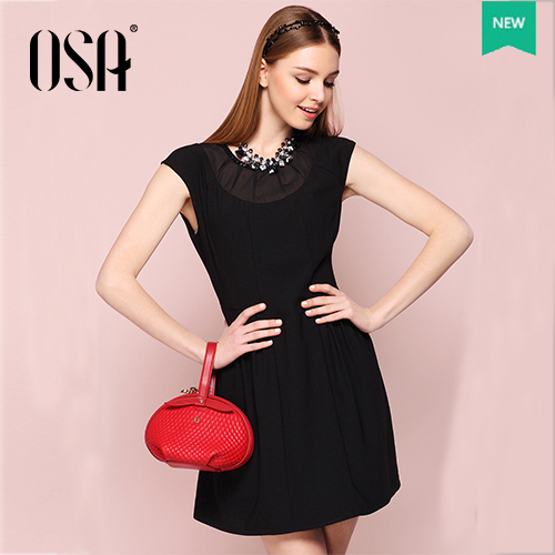 OSA 2015 Summer High Waist Pure Color Lace Dress For Women Short Puff Sleeve Round Neck Dress SL523062(China (Mainland))