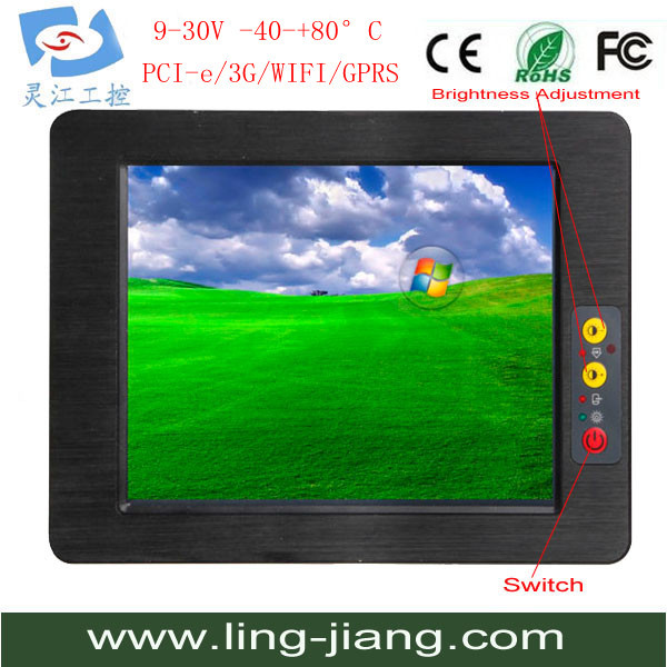 Newest All in one Embedded and Fanless X86 Mini Industrial Touchscreen Panel PC With waterproof IP65 RS232/485 PPC-104C(China (Mainland))