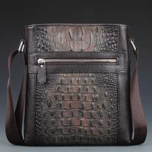 First Layer Cow Skin 100% Genuine Leather Bag For Men Crocodile Style Men's Business Messenge Bag Tablet PC handbag(China (Mainland))