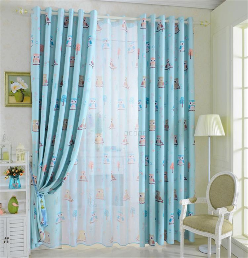 Children room bedroom curtains cartoon cute owl curtains for Cute curtain ideas for living room