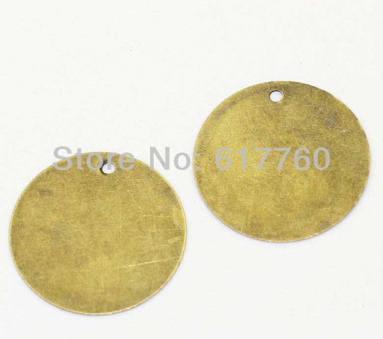 Free shipping-200Pcs Blank Stamping Tags Pendants Round Connectors DIY Jewelry Findings Antique Bronze 20mm Dia. J0028