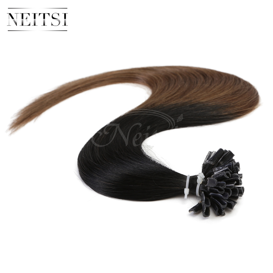 "Neitsi Pre Bonded Keratin Nail U Tip Straight Ombre Human Hair Extensions 20"" T1/6# 1g/s 50g 100g 100% Brazilian Remy Soft Hair(China (Mainland))"