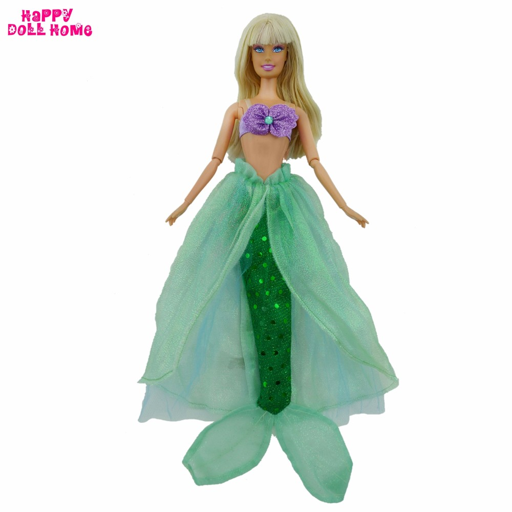Doll Equipment Mermaid Outfit Fairy Story Costume Bra Fishtail Gown Garments For Barbie Doll 11.5″ 12″ 1/6 Dollhouse Lady Toys
