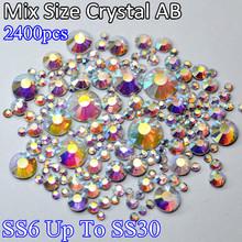 Mix Sizes Crystal AB Blue Light 2400pcs Glass Hot Fix Crystal Stones SS6 SS10 SS16 SS20 SS30 DMC Strass Hotfix Rhinestones(China (Mainland))