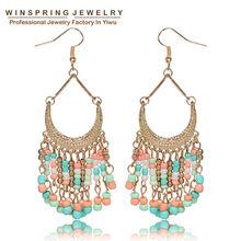 Women Bead Drop Dangle Earrings 2015 Trendy Long Metal Hanging Earrings Wedding Party Vintage Earings Fashion Jewelry Brincos(China (Mainland))