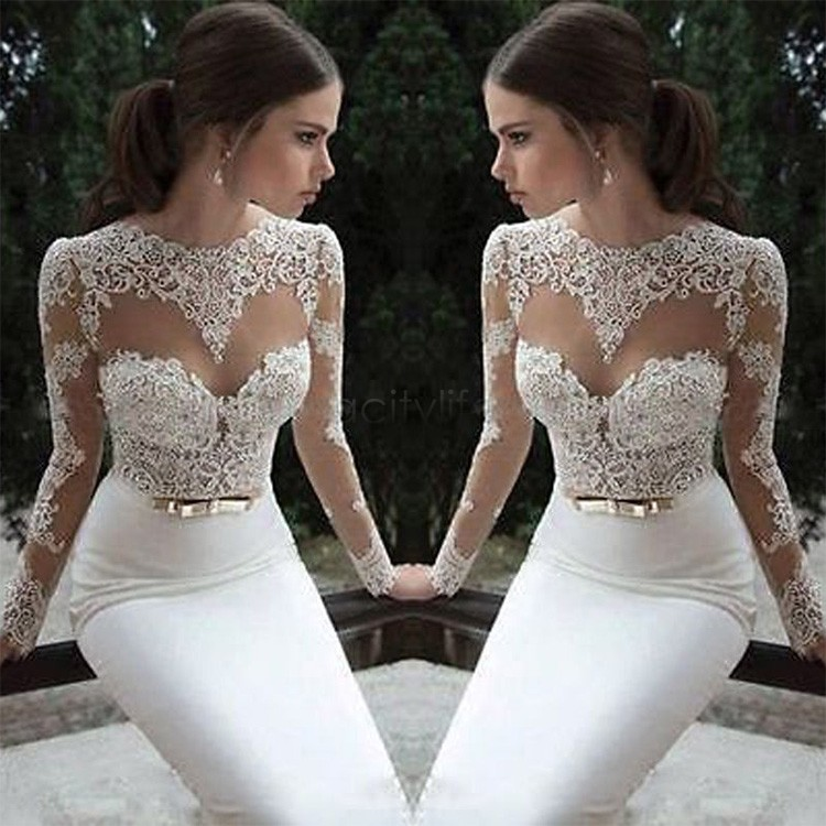 Hot Sale ! 2015 Women Sexy Lace Chiffon Dress Fashion Lady O-neck Backless Long Sleeve Long Party Dresses S-L 30