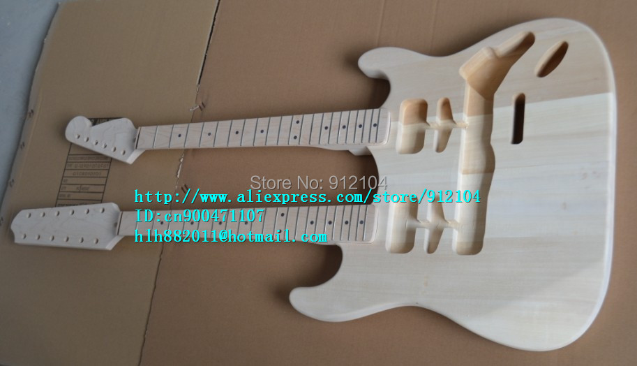 free shipping wholesale and retail new unfinished double neck electric guitar F-1466+foam box(China (Mainland))