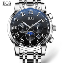 2016 mens watches top brand luxury BOS Three dial work stainless steel Moon Phase Waterproof Luminous men's watches quartz-watch