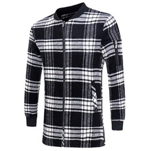 2016 New Fashion Black White Plaid Long Woolen Coat Men Slim Autumn Thin Overcoat Worsted Casual Simple Wool Jacket 13M0548(China (Mainland))