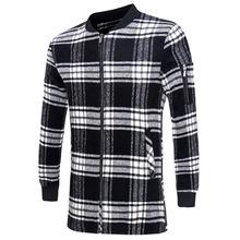2016 New Fashion Black White Plaid Long Woolen Coat Men Slim Autumn Thin Overcoat Worsted Casual Simple Wool Jacket 13M0548(China (Mainland))