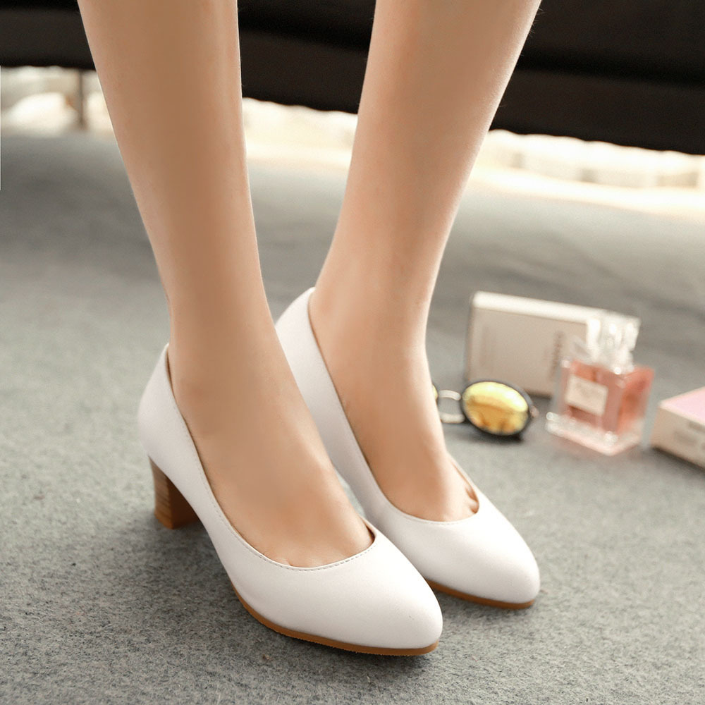 White Pumps Low Heel - Is Heel