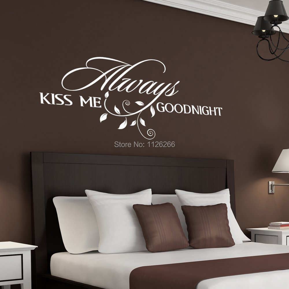 Wall Art Decor Vinyl : Always kiss me goodnight loving art wall decal removable