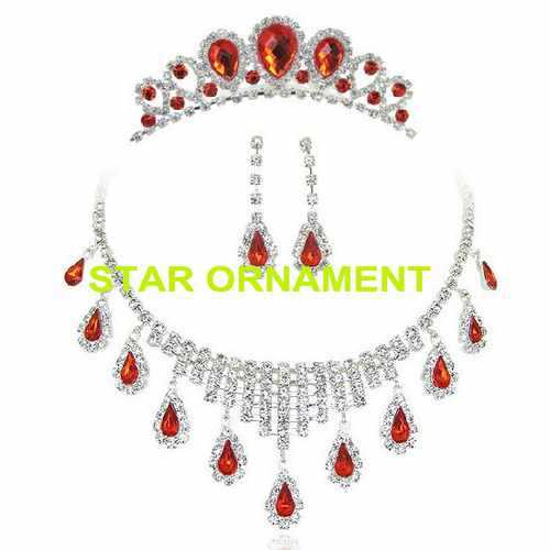 free shipping fashion super value red rhinestone bridal wedding cheap jewelry set ( tiara &amp; necklace &amp; earring) , item: CR017<br><br>Aliexpress