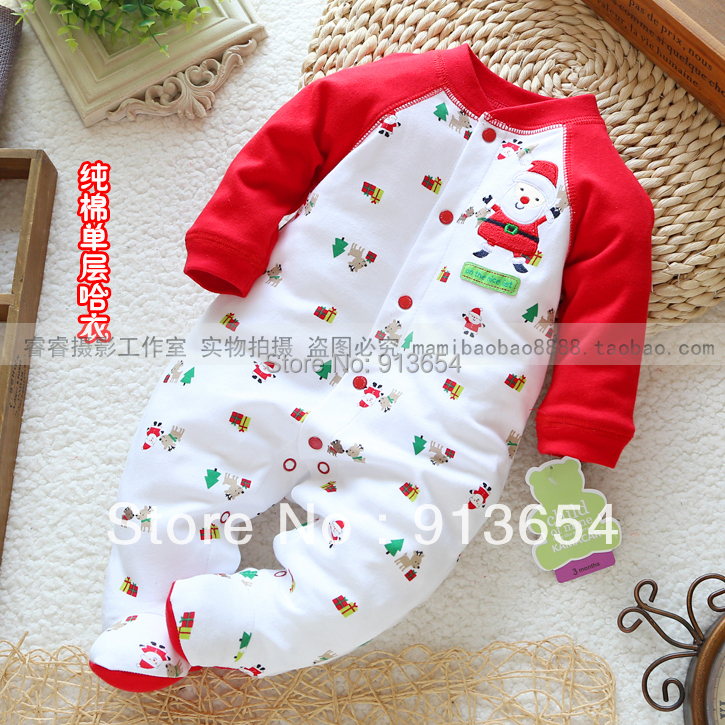 new 2014 spring autumn newborn baby clothes baby boy / girl Long sleeve romper christmas jumpsuits baby wear kids overall(China (Mainland))