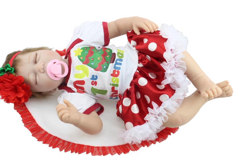 22inch Sleeping Reborn Doll Soft Silicone Baby Reborn Doll Toys For Girl Lifelike Princess Girl Fashion Doll Christmas Gift