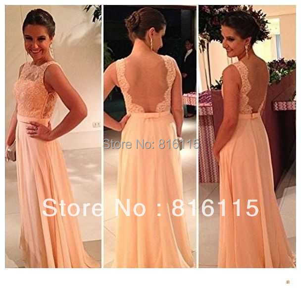 nude back chiffon long peach color bridesmaid dresses maid honor dress formal wedding party - Cyber Monday For Sale store