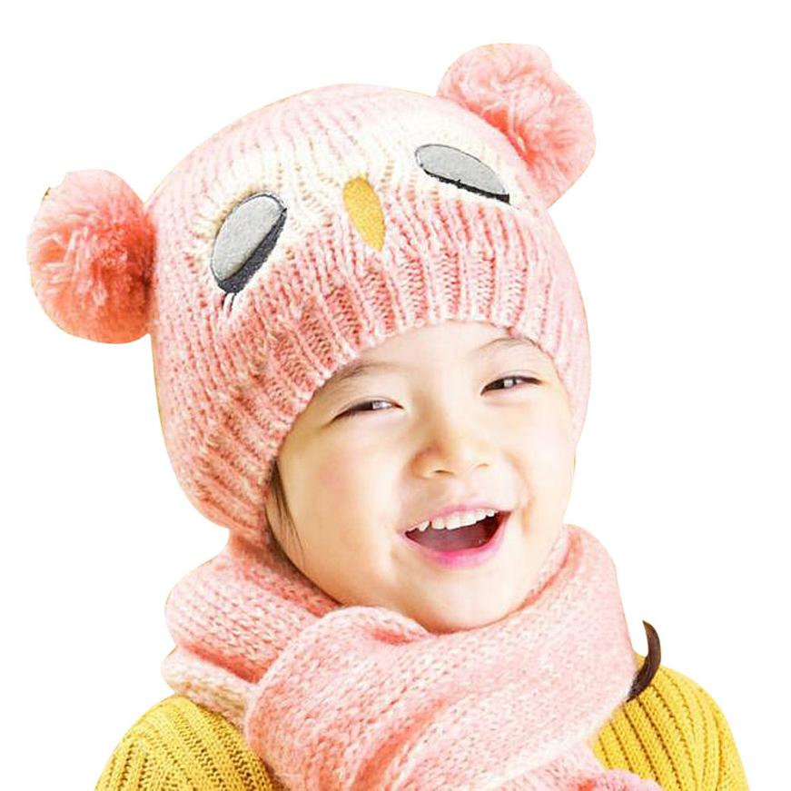 Winter Baby Knit Woolen yarn Crochet Toddler Kids Boy Girls Warm Balls Hat Beanie Knitted Hats and Scarf bonnet d'hiver(China (Mainland))