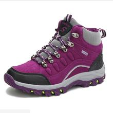 Winter Outdoor Climbing Women Casual Shoes Nubuck Leather Plush Ankle Boots Woman High Help Fashion Shoes Lace up Men's Shoes