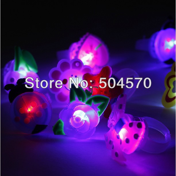 50pcs/lot Birthday Party LED Glowing finger rings favors,Cartoon Flashing Ring Light for Kids toys/Events/Party Favors(China (Mainland))