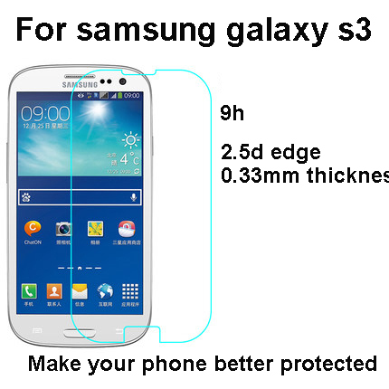 2015 Premium Real Tempered Glass Screen Protector Film For samsung galaxy s3 for i9300 protective flim stylish package(China (Mainland))