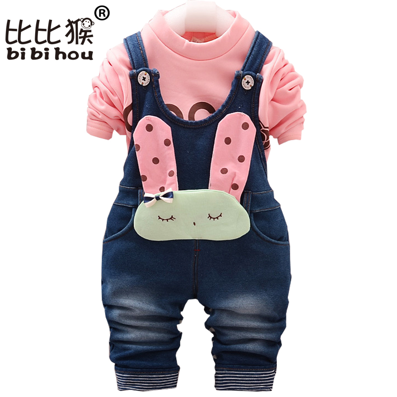 Autumn Winter Costume for Kids Newborn Baby Girl Clothes Toddler Shirt + Bib Pants Overalls 2PCS Outfit Kids Girls Clothing Set(China (Mainland))
