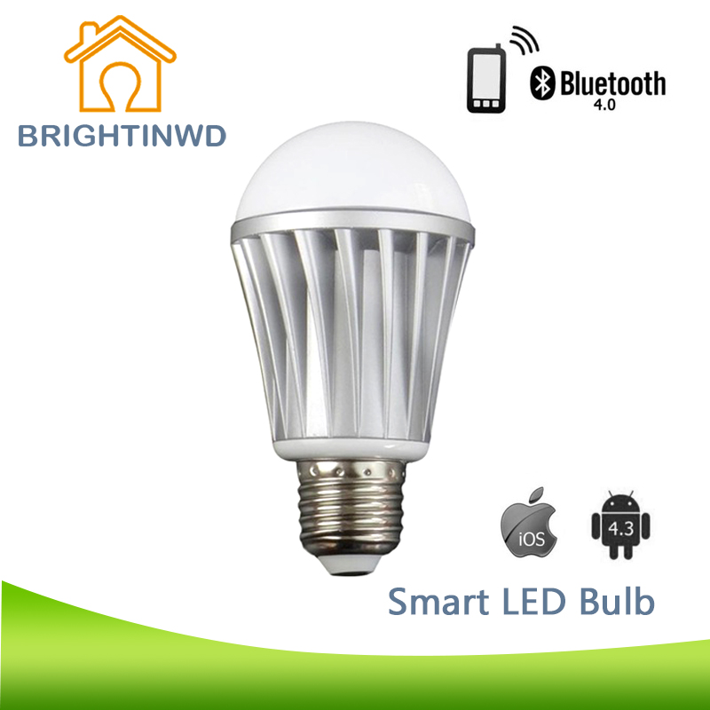 Smart LED Bulb RGBW Customized Color E27 7W AC220V 110V Light for Iphone IOS Andriod System Bluetooth Dance Voice-activated Lamp(China (Mainland))