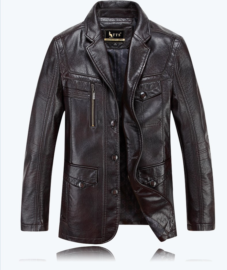 Autumn LUXURY Casual Men Leather Jacket Mens Clothing Sheepskin Leather Long Jackets Coat ...