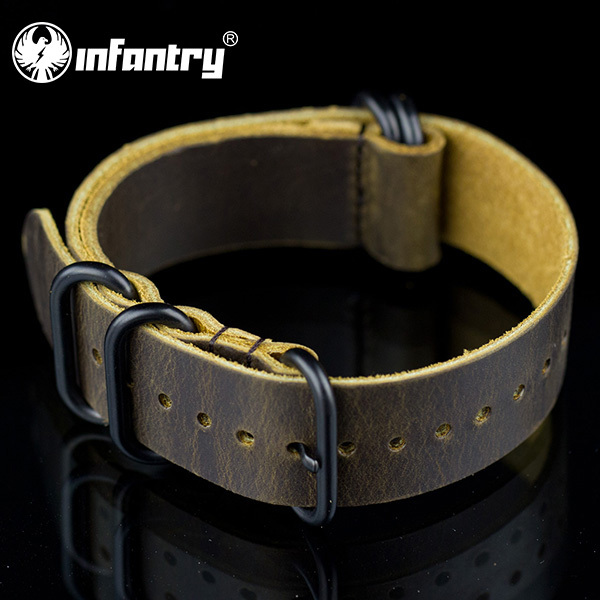 Infantry Charm Fashion Durable 22mm Genuine Leather 5 Black Rings Outdoor Brown Watch Straps Bands(Hong Kong)