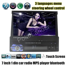 7 inch HD touch screen bluetooth Car Radio 1 Din USB TF MP4 MP5 Video Player Audio steering wheel Control 1 din size 3 languages(China (Mainland))
