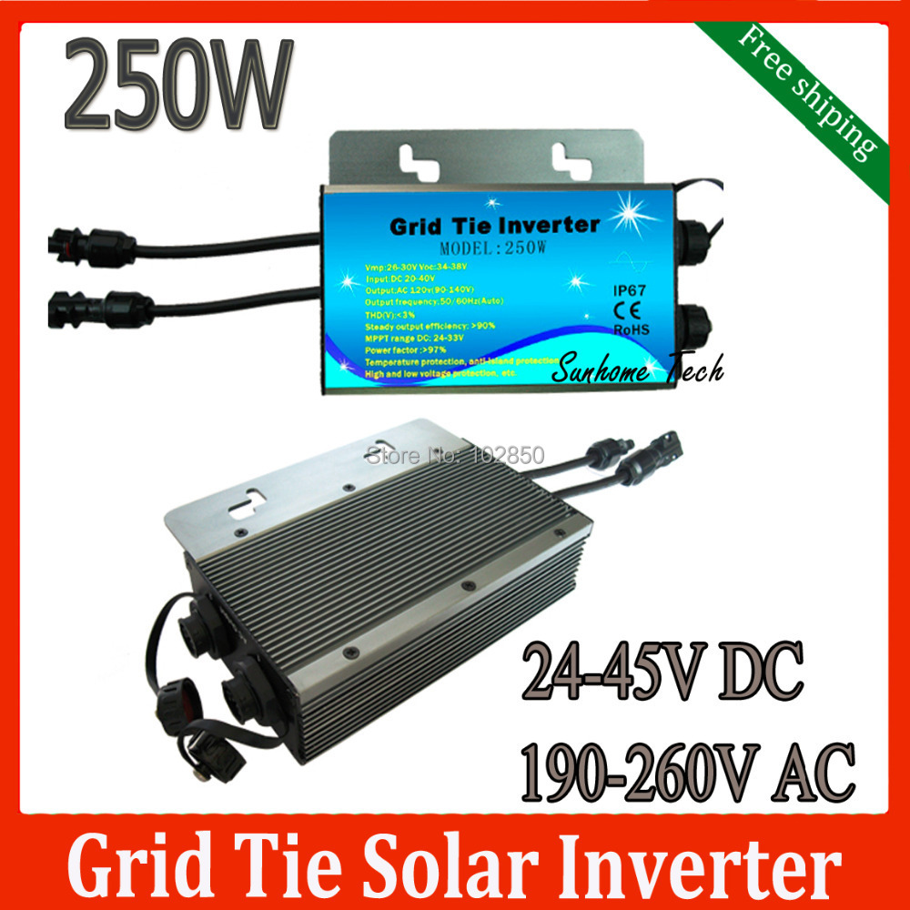 Free Shipping Solar PV On Grid Inverter DC24-45 V to AC230V 250W Solar Grid Tie Micro Inverter,water proof IP67(China (Mainland))