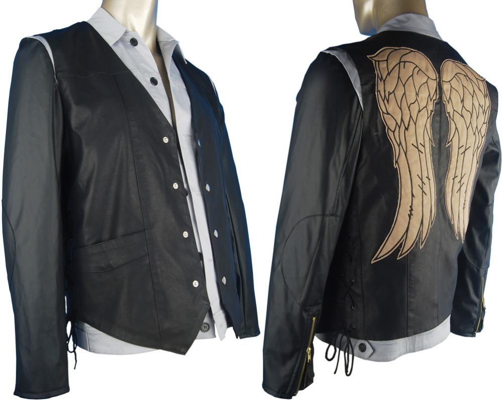 Whole Sale Men's Leather Black Jacket Vest T-shirt Angel's wings Walking Dead Daryl Dixon Halloween Carnival Cosplay Costume - CostumeDrive store