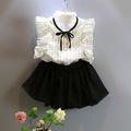 New 2016 Summer Girls chiffon set striped white shirt skirt shorts 2pcs suit Fashion Sleeveless lace