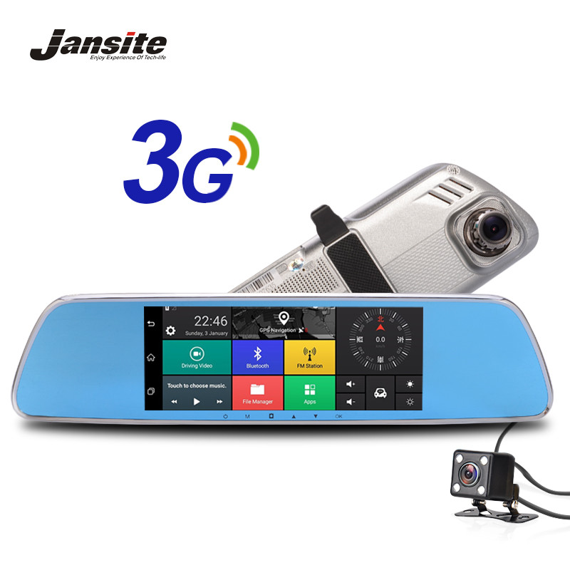 "Jansite 3G Car Camera 7"" Touch screen Android 5.0 GPS car video recorder Bluetooth rearview mirror Dash Cam Dual Lens Car Dvrs(China (Mainland))"