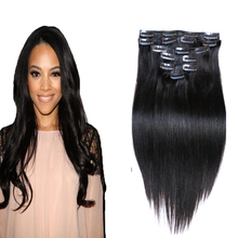 8A Clip In Human Hair Extensions Brazilian Yaki Straight Clip in Hair Extensions Human Hair Clip ins for Black Hair 70 g-220 g(China (Mainland))