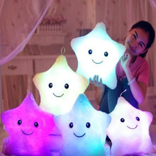 35X35CM Hot Luminous pillow Toys Led Light Pillow plush Pillow Hot Colorful Stars kids Festival Christmas Toys Birthday Gift(China (Mainland))