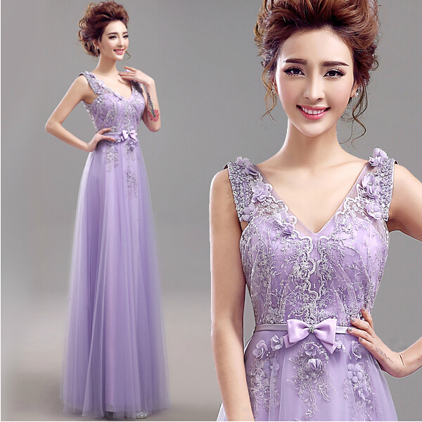 china online store kaftan dubai elegant sexy long beautiful special occasion tulle appliques v neck purple evening dresses 2015(China (Mainland))