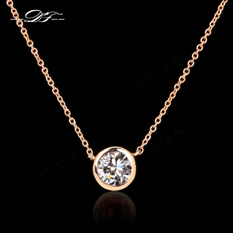 CZ Diamond Necklaces & Pendants 18K Rose Gold Plated Fashion Imitation Gemstone Jewelry For Women Chain Accessiories DFN454(China (Mainland))