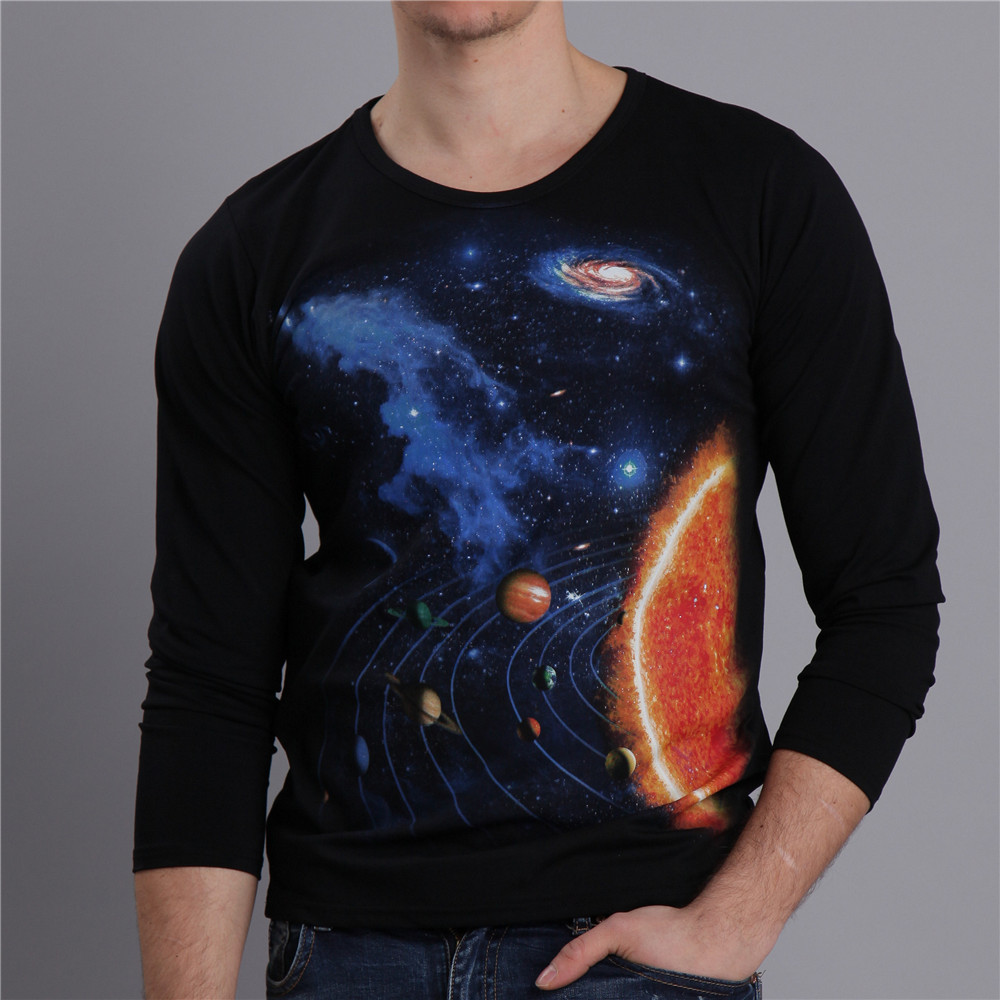 Stars Planet Black 3D Printed T Shirts Solid Color Long Sleeve Slim Fit Men Spring Casual Top Clothes MT-15053 - AZEL store