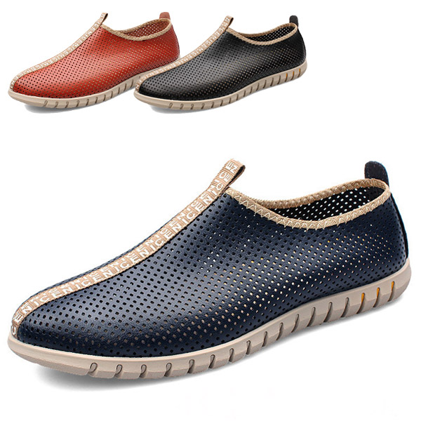 Genuine Leather Summer Style Shoes Men Fashion Casual Flats Breathable Hole NEW  -  CN Shoes store