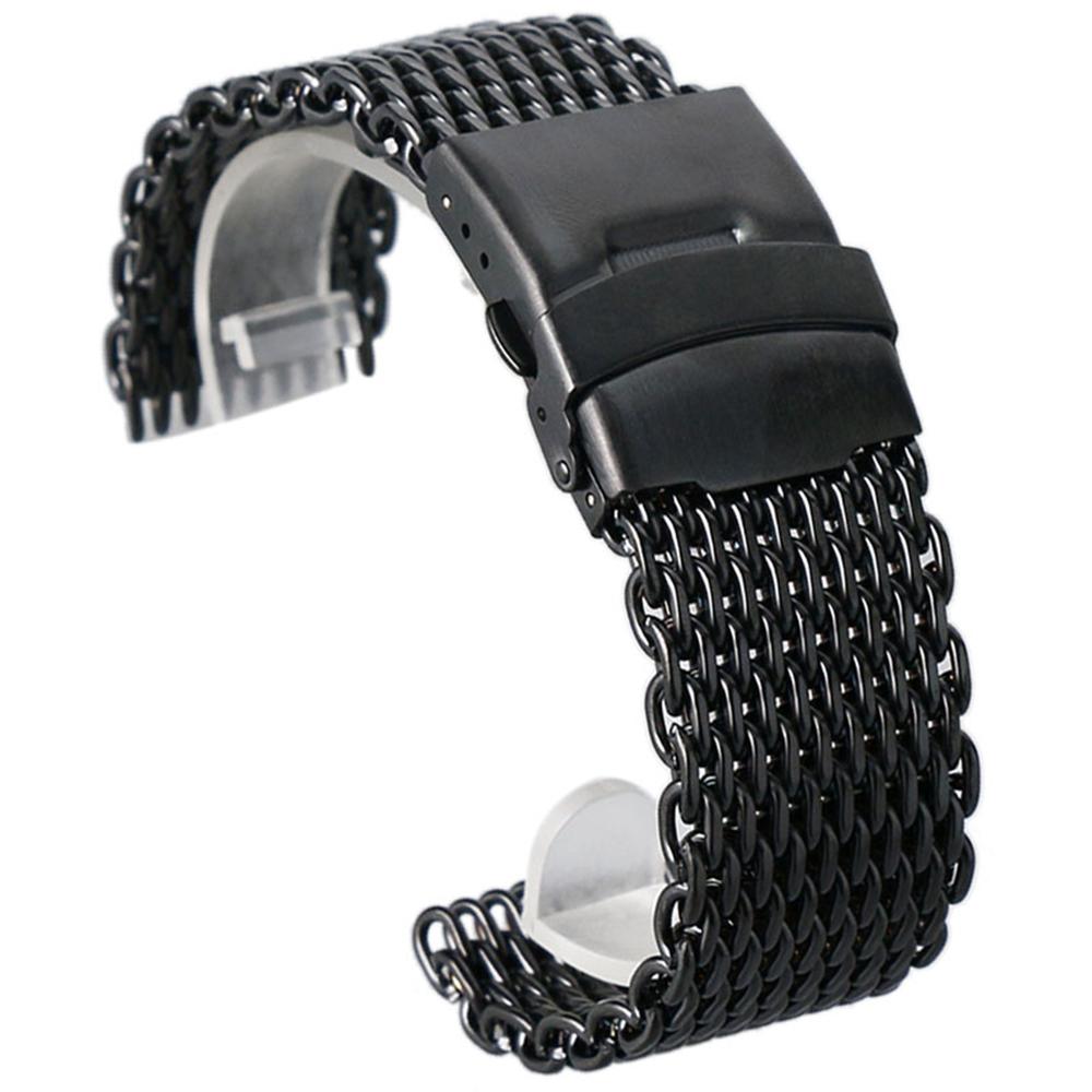 18mm 20mm 22mm 24mm Black Stainless Steel Mesh Wrist Watch Band Fashion Men Quartz Watches Strap High Quarlity(China (Mainland))