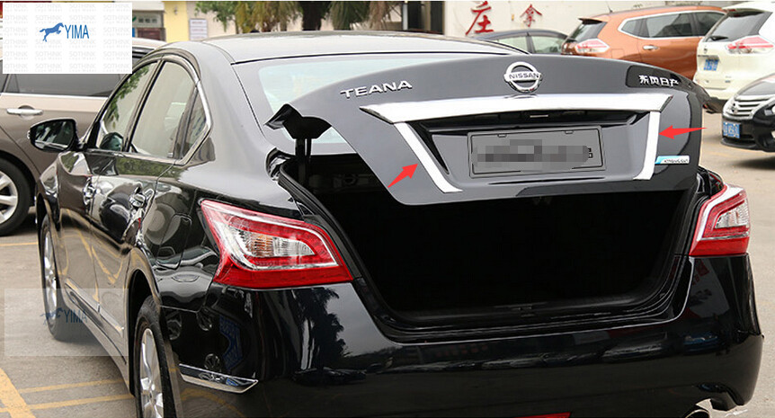 For Nissan Teana / Altima 2013 2014 Stainless Steel Rear Trunk Lid Cover Tail Door Molding Cover Trim 2pcs<br><br>Aliexpress