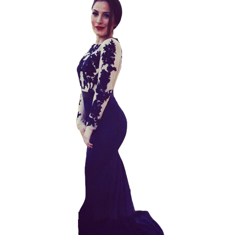 Elegant Blue Mermaid Evening Dresses 2014 New Fashion High-Neck Long Sleeve Lace Appliques Prom Gowns Hot Sale