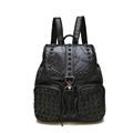Genuine Leather Rivet studded Drawstring Bag Women Solid Color Sheepskin Patchwork Bag Fashion High Quality Splicing