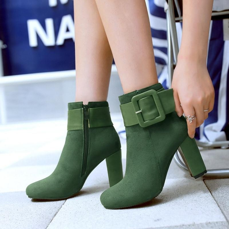 Coolcept  Sexy Women Shoes Thick High Heel Buckle Knight Ankle Boots Zip Bootie Autumn Winter Ladies Shoes Footwear Size 31-43