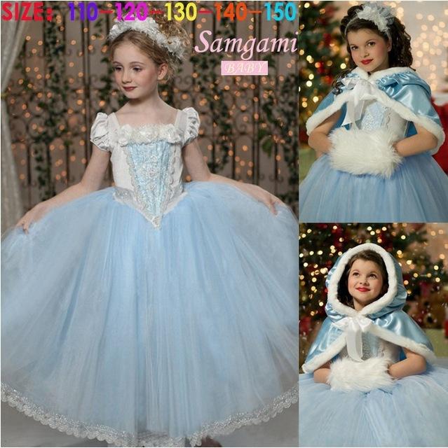 Девушки золушка платье принцессы дети фильм косплей костюм шаль сказка новорожденных девочек платья фэнтези платье без шаль шляпа