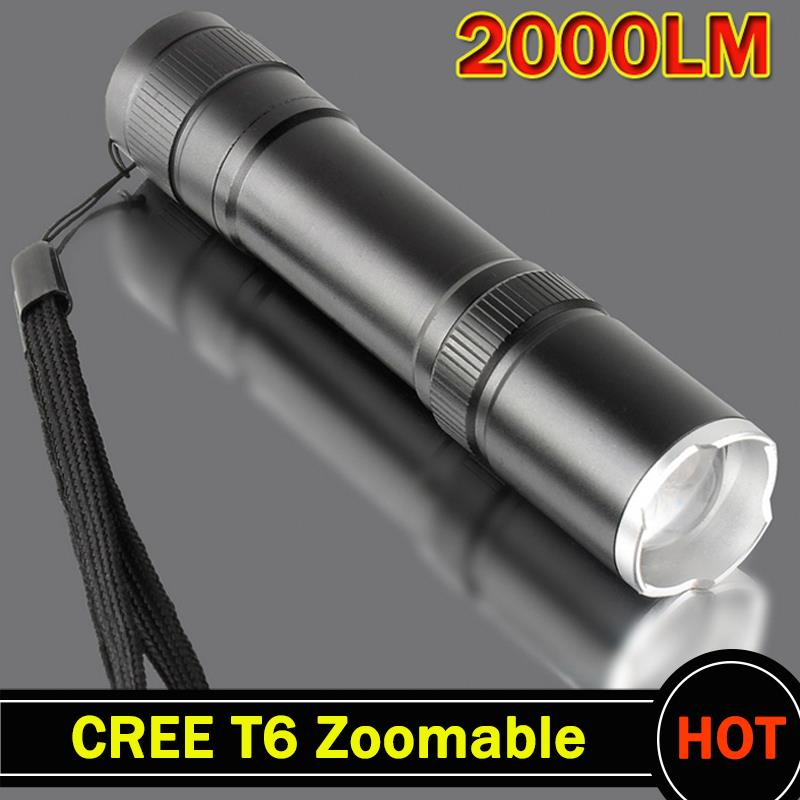 CREE XML T6 2000LM led flashlight Aluminum Zoomable cree LED Torch lamplight for 1x18650 battery free shipping ZK93(China (Mainland))